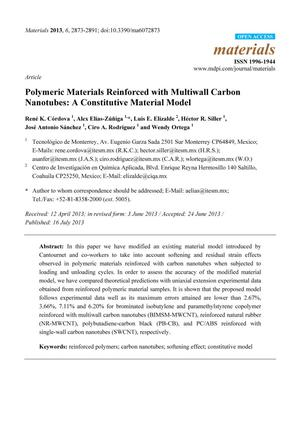 Primary view of object titled 'Polymeric Materials Reinforced with Multiwall Carbon Nanotubes: A Constitutive Material Model'.