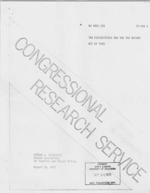 Primary view of object titled 'Tax Expenditures and the Tax Reform Act of 1969'.