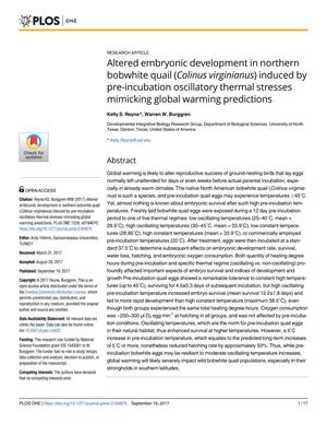 Primary view of object titled 'Altered embryonic development in northern bobwhite quail (Colinus virginianus) induced by pre-incubation oscillatory thermal stresses mimicking global warming predictions'.