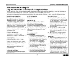 Primary view of object titled 'Rubrics and Rutabagas: Only One is Useful for Assessing Staff During Evaluations'.