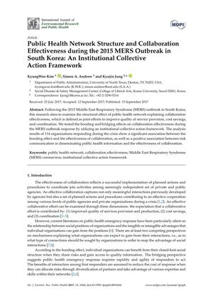 Primary view of object titled 'Public Health Network Structure and Collaboration Effectiveness during the 2015 MERS Outbreak in South Korea: An Institutional Collective Action Framework'.