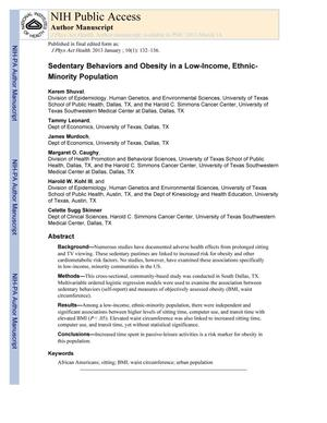 Primary view of object titled 'Sedentary Behaviors and Obesity in a Low-Income, Ethnic-Minority Population'.