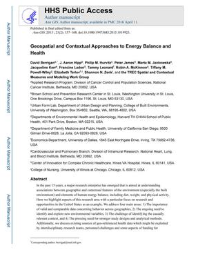 Primary view of object titled 'Geospatial and Contextual Approaches to Energy Balance and Health'.