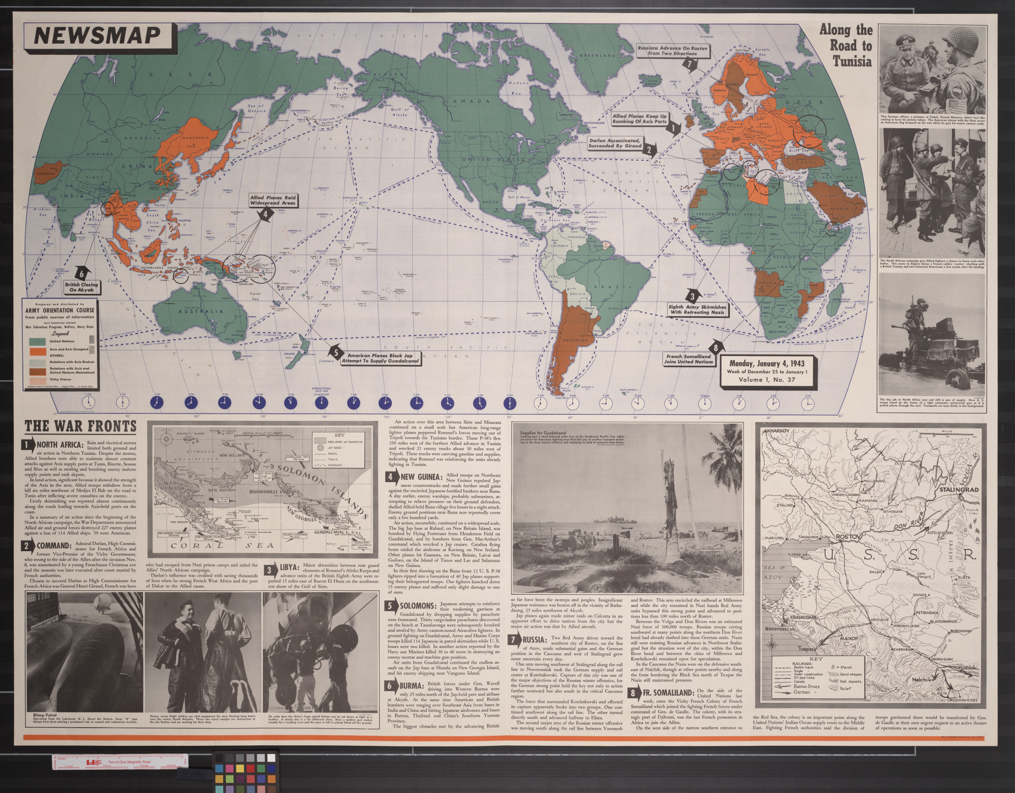 Newsmap. Monday, January 4, 1943 : week of December 25 to January 1                                                                                                      [Sequence #]: 1 of 2