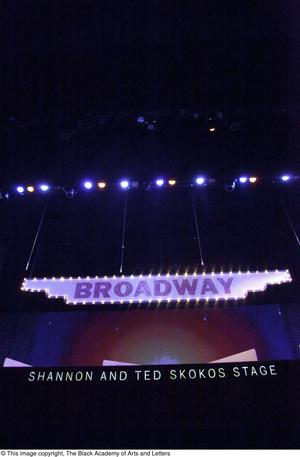 Primary view of object titled '[Sign Above Stage]'.