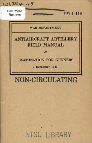 Antiaircraft artillery field manual : examination for gunners.