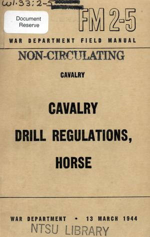 Primary view of object titled 'Cavalry drill regulations, horse.'.