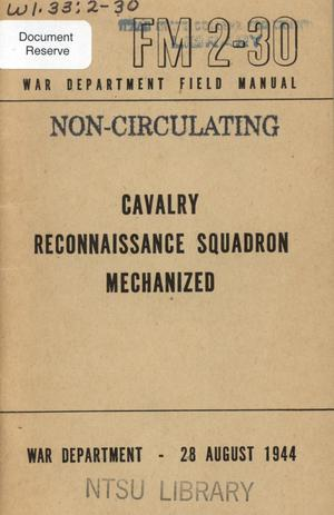 Primary view of object titled 'Cavalry reconnaissance squadron mechanized.'.