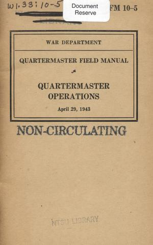 Primary view of object titled 'Quartermaster operations.'.