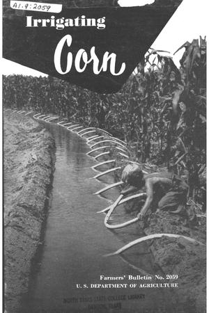 Primary view of object titled 'Irrigating corn.'.