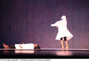 Primary view of object titled '[Dancers in white on stage]'.
