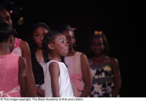 Primary view of object titled '[Young actress performing in Aretha: The Musical]'.