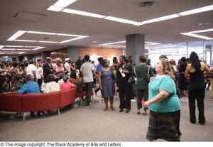 Primary view of object titled '[Lobby filled with patrons at Aretha: The Musical]'.
