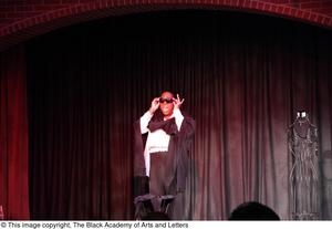 Primary view of object titled '[Performer standing on stage with sunglasses]'.