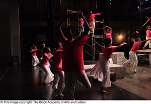 Primary view of object titled '[Dancers performing onstage at Aretha: The Musical]'.