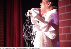Primary view of object titled '[Performer speaking on stage]'.