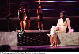 Primary view of object titled '[Actresses perform a scene from Aretha: The Musical]'.