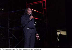 Primary view of object titled '[Curtis King onstage at Aretha: The Musical ]'.