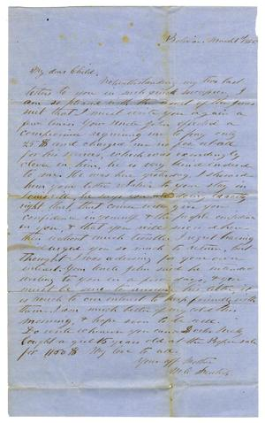Primary view of object titled '[Letter from Maud C. Fentress to David W. Fentress - March 1, 1856]'.