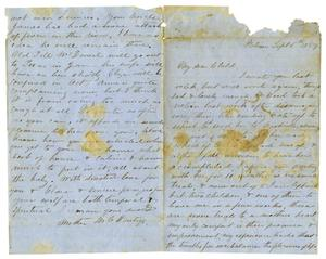 Primary view of object titled '[Letter from Maud C. Fentress to David W. Fentress, September 6, 1859]'.