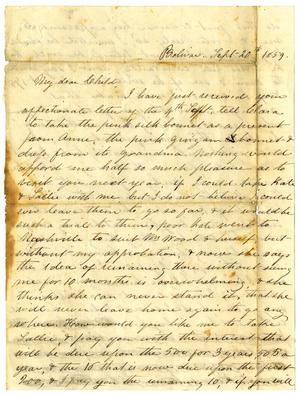 Primary view of object titled '[Letter from Maud C. Fentress to David Fentress, September 20, 1859]'.