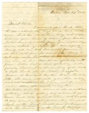 Primary view of object titled '[Letter from Maud C. Fentress to David Fentress, April 29, 1860]'.