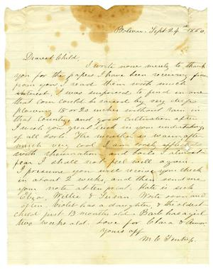 Primary view of object titled '[Letter from Maud C. Fentress to David Fentress, September 24, 1860]'.