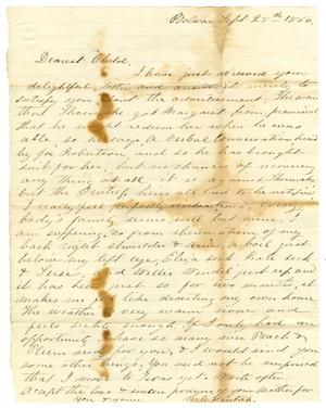 Primary view of object titled '[Letter from Maud C. Fentress to David Fentress, September 25, 1860]'.