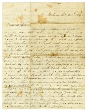 Primary view of object titled '[Letter from Maud C. Fentress to her David Fentress, December 25, 1860]'.
