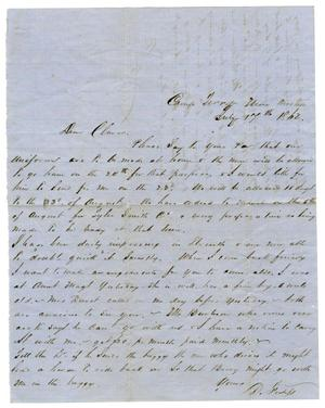 Primary view of [Letter from David Fentress to Clara Fentress, July 17, 1862 ]