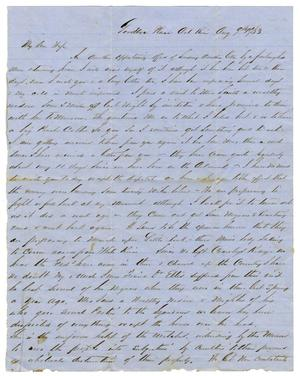 Primary view of [Letter from David Fentress to his wife Clara, August 9, 1863]