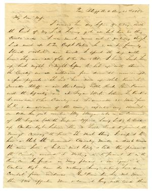 Primary view of [Letter from David Fentress to his wife Clara, August 28, 1863]
