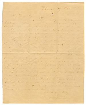 Primary view of object titled '[Letter from David Fentress to his wife Clara Fentress, March 1, 1865]'.