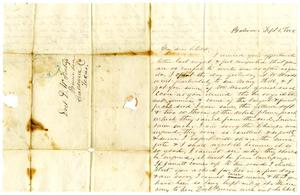 Primary view of object titled '[Letter from Maud C. Fentress to David Fentress, September 1, 1858]'.