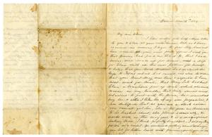 Primary view of object titled '[Letter from Maud C. Fentress to her son David W. Fentress - November 12, 1859]'.