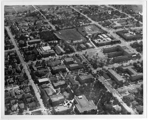 Primary view of object titled '[Aerial Photograph of the North Texas State College Campus, around 1949]'.