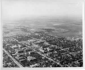 Primary view of object titled '[Aerial Photograph of the North Texas State College Campus, 1940s]'.