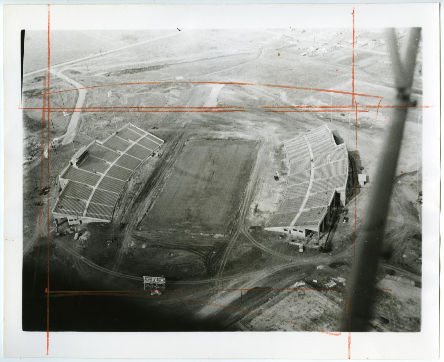 [Aerial Photograph of North Texas State College, Fouts Field Stadium, 1951]                                                                                                      [Sequence #]: 1 of 2