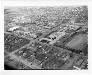Primary view of object titled '[Aerial Photograph of the North Texas State College Campus, around 1950]'.