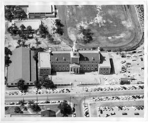 Primary view of object titled '[Aerial Photograph of the North Texas State College Administration Building, around 1956]'.