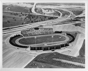 Primary view of object titled '[Aerial Photograph of North Texas State College, Fouts Field Stadium, 1952]'.
