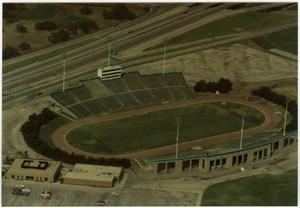 Primary view of object titled '[Aerial Photograph of North Texas State University, Fouts Field Stadium]'.