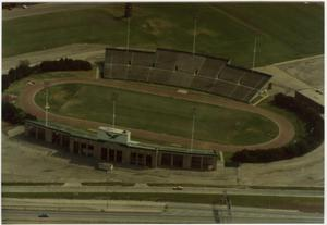 Primary view of object titled '[Aerial Photograph of North Texas State University, Fouts Field Stadium, 1983]'.