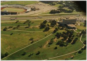 Primary view of object titled '[Aerial Photograph of the North Texas State University Golf Course and Fouts Field Stadium]'.
