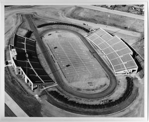Primary view of object titled '[Aerial Photograph of North Texas State University, Fouts Field Stadium, 1962]'.
