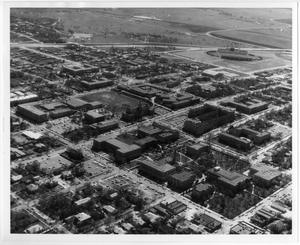 Primary view of object titled '[Aerial Photograph of the North Texas State University Campus, 1964]'.