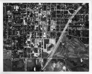 Primary view of object titled '[Aerial Photograph of the North Texas State University Campus, 1965]'.