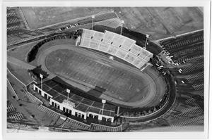 Primary view of object titled '[Aerial Photograph of North Texas State University, Fouts Field Stadium, 1969]'.