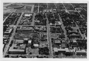 Primary view of object titled '[Aerial Photograph of the North Texas State University Campus, 1960's]'.