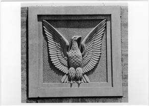 Primary view of object titled '[Exterior Plaques at Fouts Field During Construction]'.